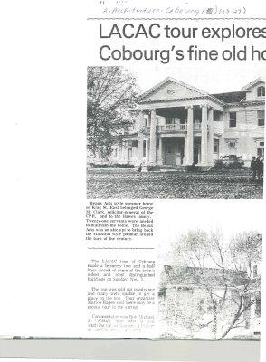 <b>Article regarding 1980 Cobourg House Tour.<b>