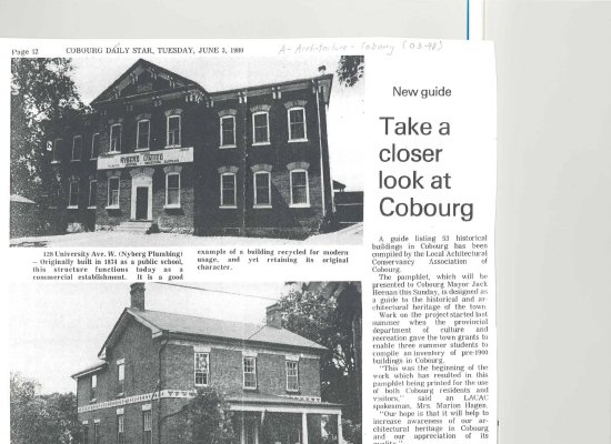 <b>Article regarding a 1980 pamphlet compiled by LACAC listing 53 historical buildings in Cobourg <b>