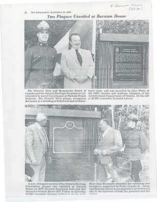 <b>Article on the unveiling of a plaque at Barnum House in 1984.<b>