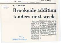 """Article titled """"Brookside addition tenders next week"""""""