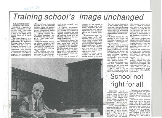 """Article entitled """"Training school's image unchanged"""""""