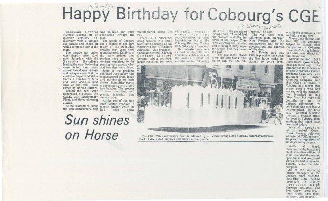 <b>Happy Birthday for Cobourg's CGE<b>
