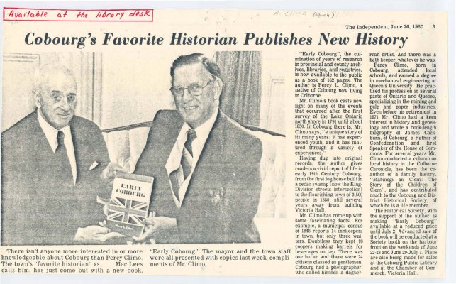 """<b>Article entitled """"Cobourg's favorite historian publishes new history"""" regarding his book 'Early Cobourg'.<b>"""