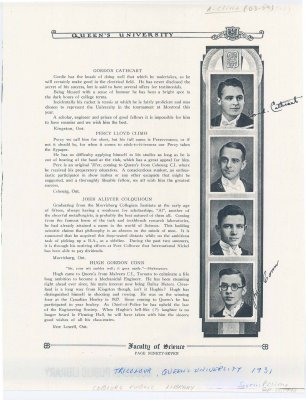 """<b>Yearbook excerpt from the """"Tricolour, Queen's University"""" regarding Percy Climo in 1931 <b>"""