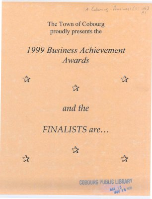 <b>Flyer regarding the 1999 Business Achievements Awards with a brief background on the finalists<b>