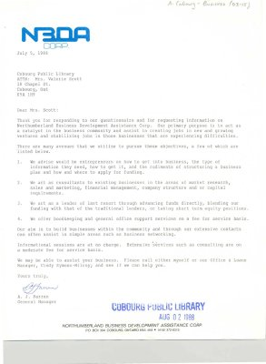 Letter from the NBDA Corp (Northumberland Business Development Assistance Corp) describing their services.