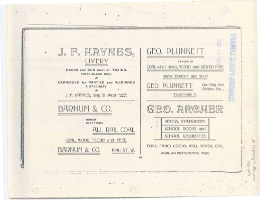 Photocopy of a page of advertising for J. F. Haynes Livery, George Plunkett, Barnum & Co. and George Archer.