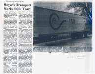 """Article entitled """"Meyer's transport marks 60th year"""""""