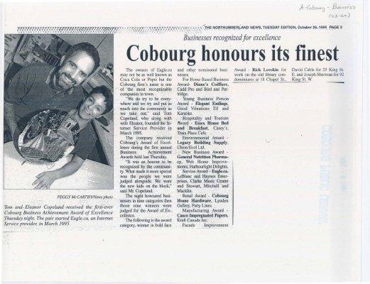 "<b>Article entitled ""Cobourg honours its finest""<b>"