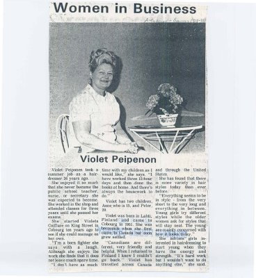 "Article entitled ""Women in business: Violet Peipenon"""