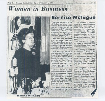 "Article entitled "" Women in business: Bernice McTague"""