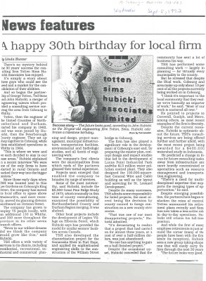 "Article entitled ""A happy 30th birthday for local firm"""
