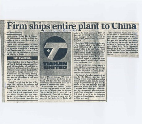 "Article entitled ""Firm ships entire plant to China"""