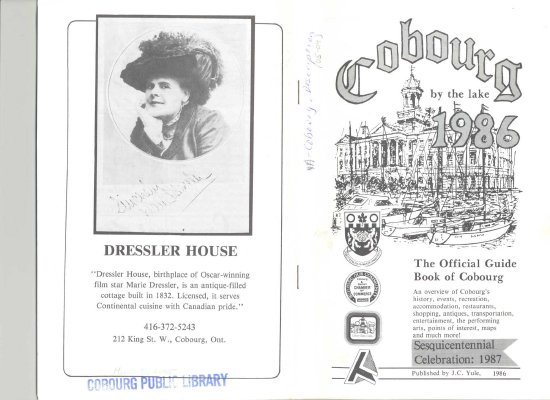 """<b>""""Cobourg by the lake 1986: the official guide book of Cobourg""""<b>"""