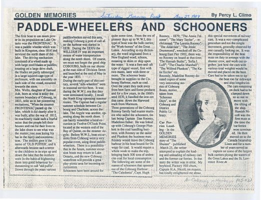 "Article entitled ""Paddle-wheelers and schooner"""
