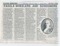 """Article entitled """"Paddle-wheelers and schooner"""""""