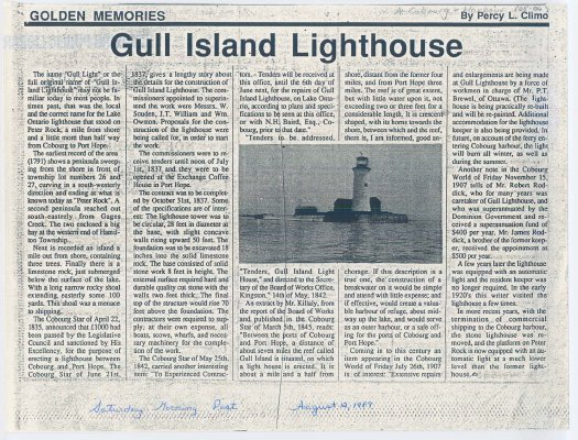 "Article entitled ""Gull Island Lighthouse"""