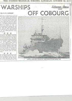 "Article entitled ""Warships off Cobourg"""