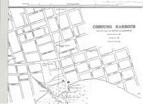 Reproduction of a map of Cobourg Harbour surveyed in 1911 from the Archives of Ontario.