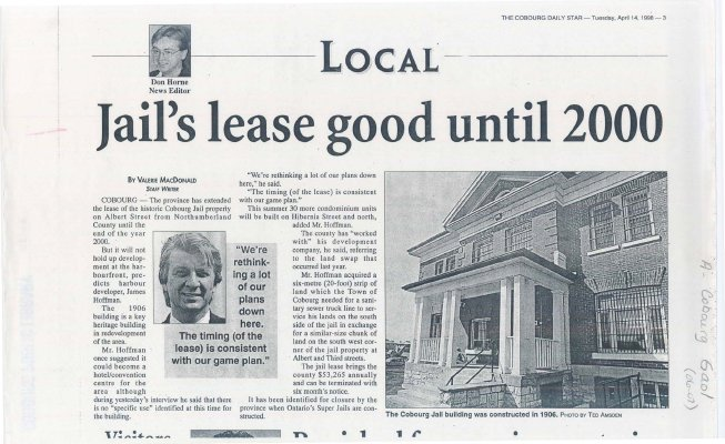 "Article entitled ""Jail's lease good until 2000"" by Valerie MacDonald"
