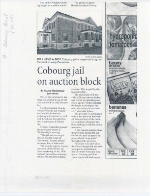 "Article entitled ""Cobourg jail on auction block"""