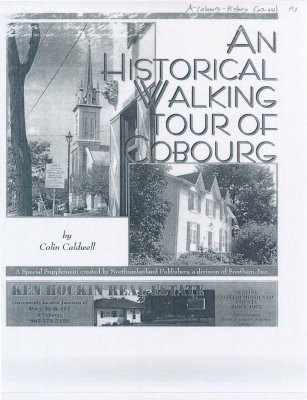 """<b>Report entitled """"An Historical Walking Tour of Cobourg""""<b>"""