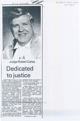 "Obituary of Judge Robert Carley entitled ""Dedicated to Justice."""