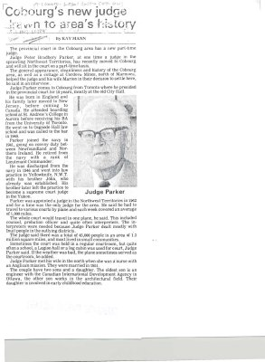 "Article entitled ""Cobourg's new judge drawn to area's history"""