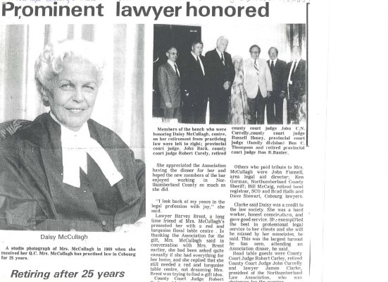 Article about the career and retirement of Cobourg lawyer Daisy McCullagh.