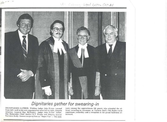 <b>Article about the swearing in of John David Daniel Evans as provincial court judge.<b>