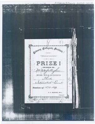 <b>Copy of a C.C.I. award given to Mr. William Gallagher.<b>