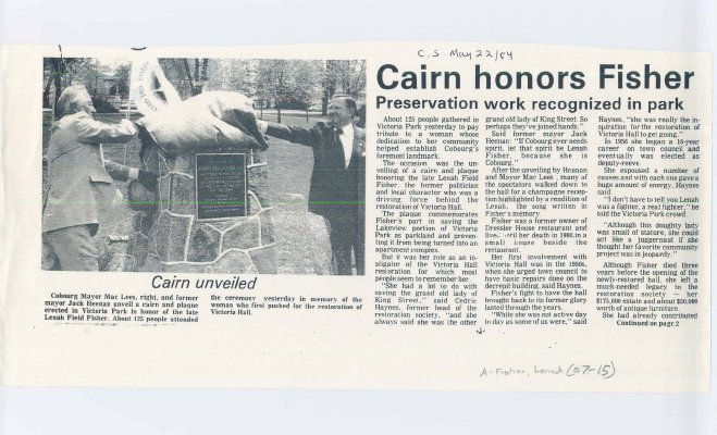 Article about the unveiling of a Cairn and plaque put in Victoria Park