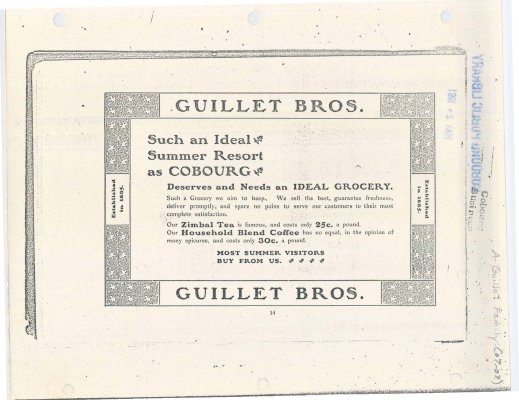 Advertisement for the Guillet Bros. Grocery Store.