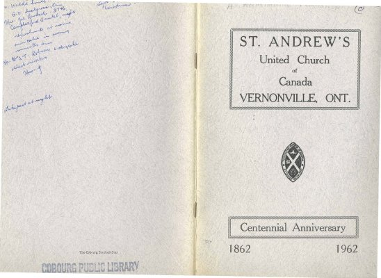 <b>Booklet for the Centennial Anniversary of St. Andrew's United Church<b>