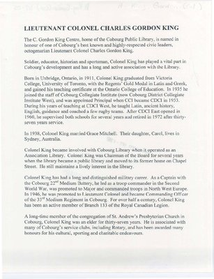 An Article on Lieutenant Colonel Charles Gordon King