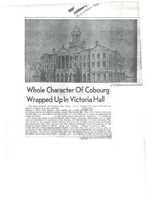 Whole Character Of Cobourg Wrapped Up In Victoria Hall