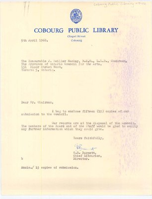 Letter to J. Keiller Mackay from G. R. Barnett, regarding his submission to the Ontario Council for the Arts.