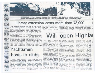 Article entitled, 'Library extension costs more than $3,000'