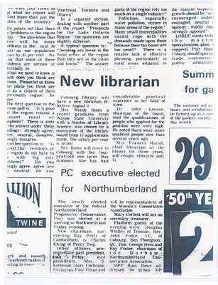 Article entitled, 'New Librarian'