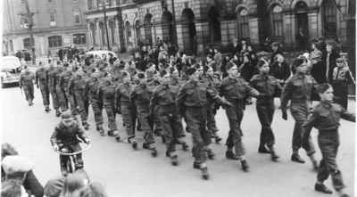 <b>Soldiers Marching in Cobourg<b>