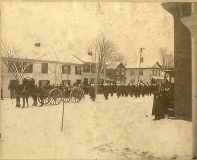 Military procession or Fireman funeral procession.