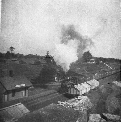 Steam train at station