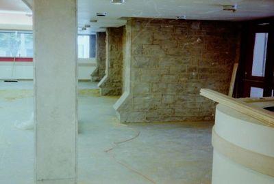 Entrance foyer to the Halton Hills Cultural Centre under construction.