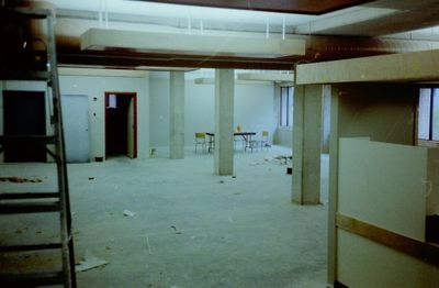Halton Hills Cultural Centre - partial interior view of the Library under construction.