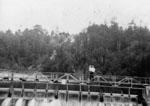 Man and child on footbridge c1930