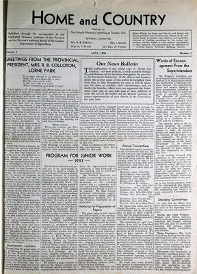Home & Country Newsletters (Stoney Creek, ON), May 1933
