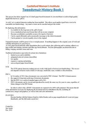 Castleford WI Tweedsmuir Community History, Volume 1