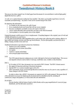 Castleford WI Tweedsmuir Community History, Volume 6
