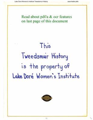 Lake Dore WI Tweedsmuir Community History, Volume 1