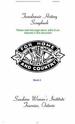 Sunshine WI Tweedsmuir Community History, Volume 4